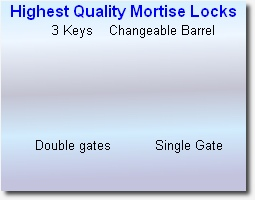 Highest Quality Mortise Locks      3 Keys    Changeable Barrel                          Double gates           Single Gate